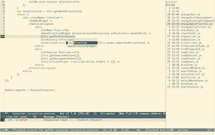 Editing UIv2 in SkuVault in Emacs