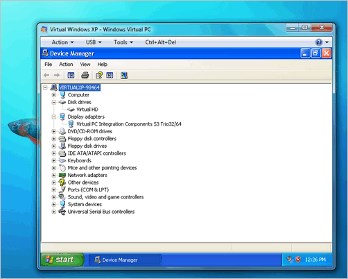 Virtual Machine running Windows XP within Windows 7
