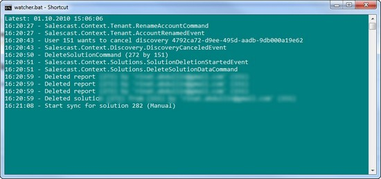 Real-time trace of CQRS system in Windows Azure Cloud
